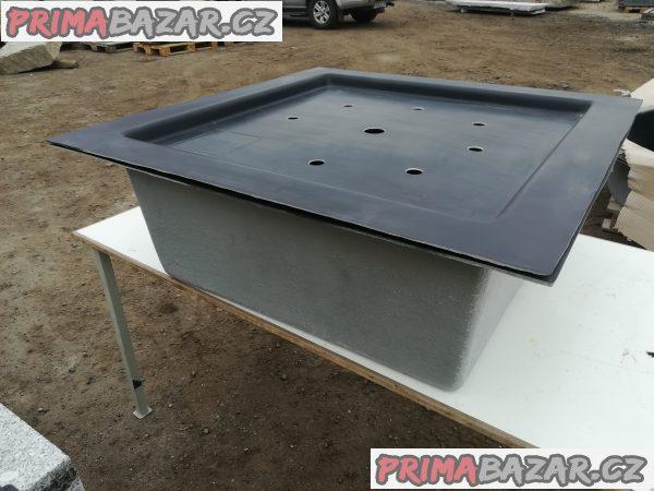 Čtvercová sklolaminátová nádoba 100 x 100cm H-35 cm + Víko na laminátovou fontánovou nádrž 100x100cm 400kg