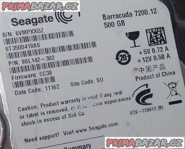 Rychlý vnitřní HDD Seagate 500 GB + ZDARMA 40 GB!!!