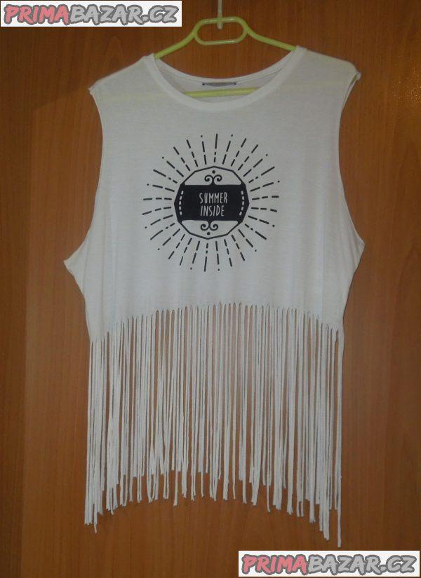 Moderní bílé tričko s třásněmi zn. PINK WOMAN, vel. L/XL