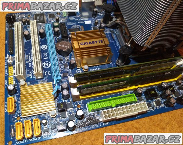 Zákl. deska GIGABYTE GA-G31M-ES2L + procesor a chladič a RAM 2 GB!!!