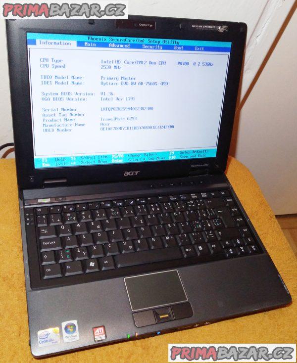 Notebook Acer TravelMate 6293 - k opravě nebo na náhradní díly!!!