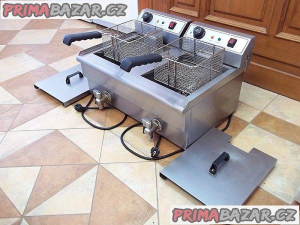 PROFI fritéza dvojitá elektrická s vypouštěním 2x13 litrů