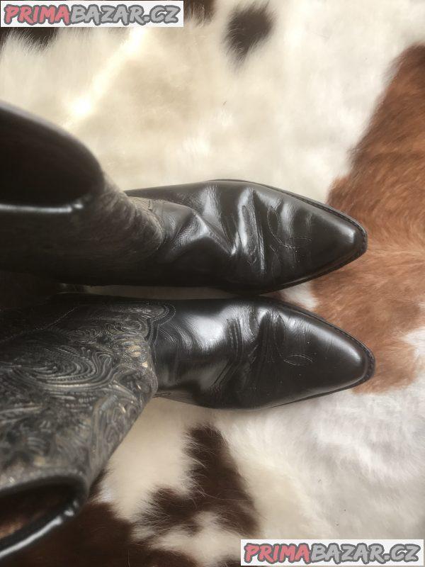 Dámské kožené boty v kovbojském/westernovém stylu