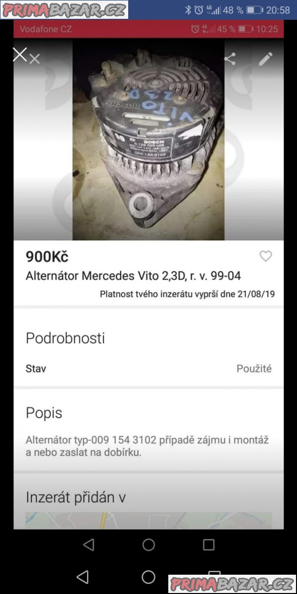 Alternátor Mercedes Vito