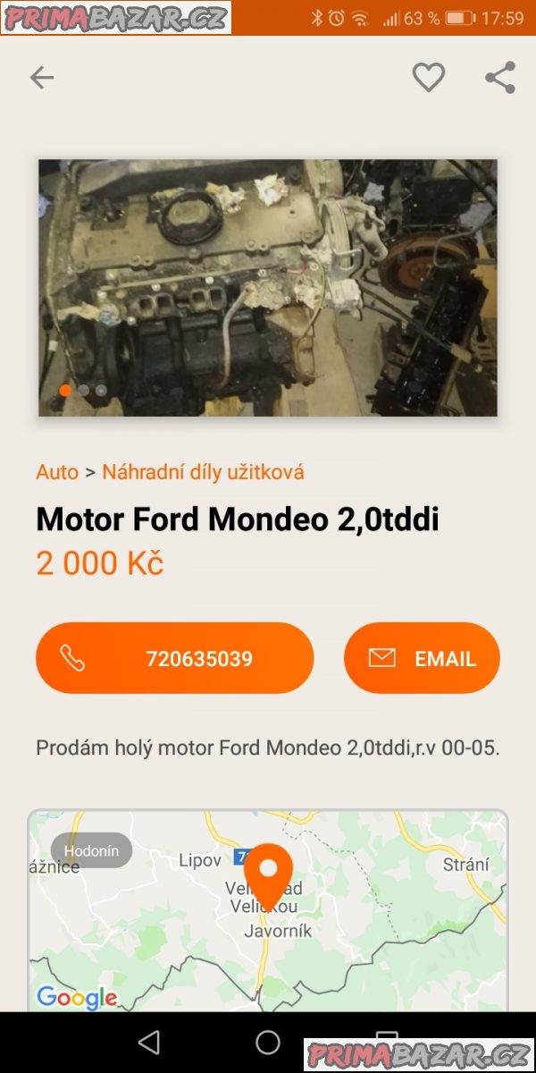 Motor Ford Mondeo 2,0tddi