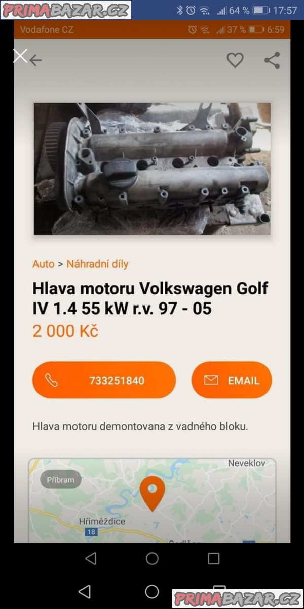 Hlava motoru Volkswagen Golf