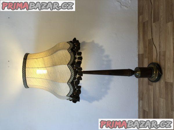 Těžká stojací starožitná mosazná lampa