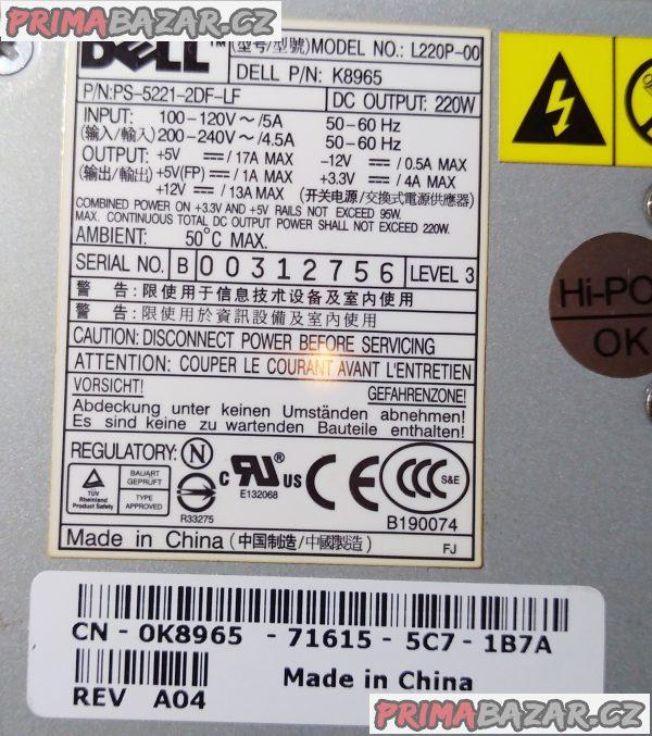 Orig. PC zdroj DELL L220P-00 - 220 W.