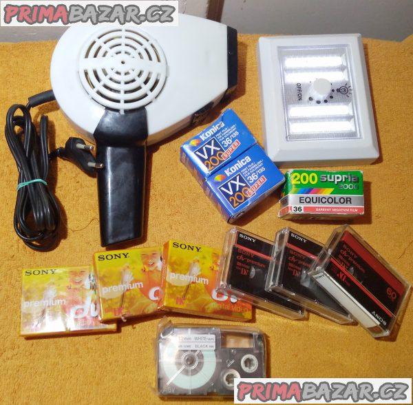 Fén +LED světlo +páska XR-12WE +SONY Mini DV +3x film!